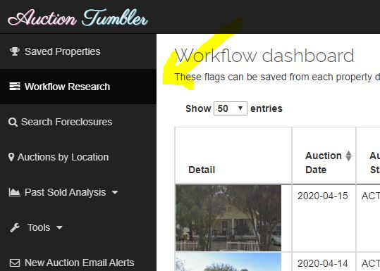 auction workflow explanation, property detail page